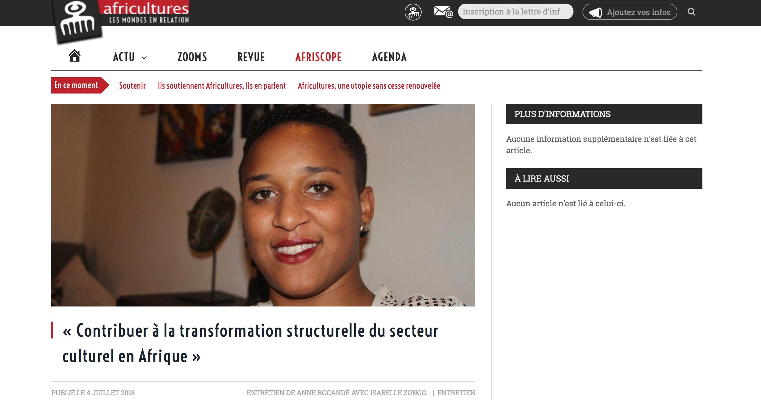 AFRICULTURES « Contribuer à la transformation structurelle du secteur culturel en Afrique » ENTRETIEN DE ANNE BOCANDÉ